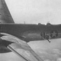 J.R. Krantz dangles from a B-29, miles over Japan